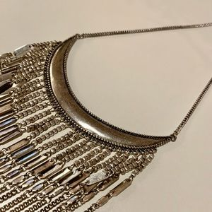 Boho Brushed Silver Tone Fringe Necklace